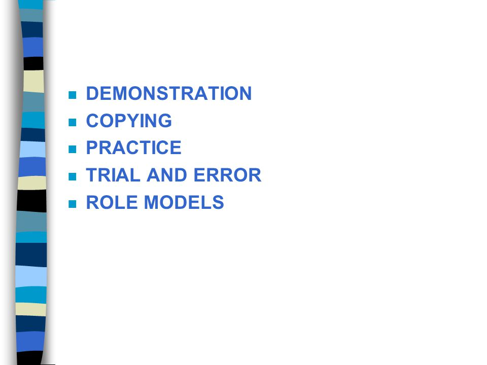 DEMONSTRATION COPYING PRACTICE TRIAL AND ERROR ROLE MODELS