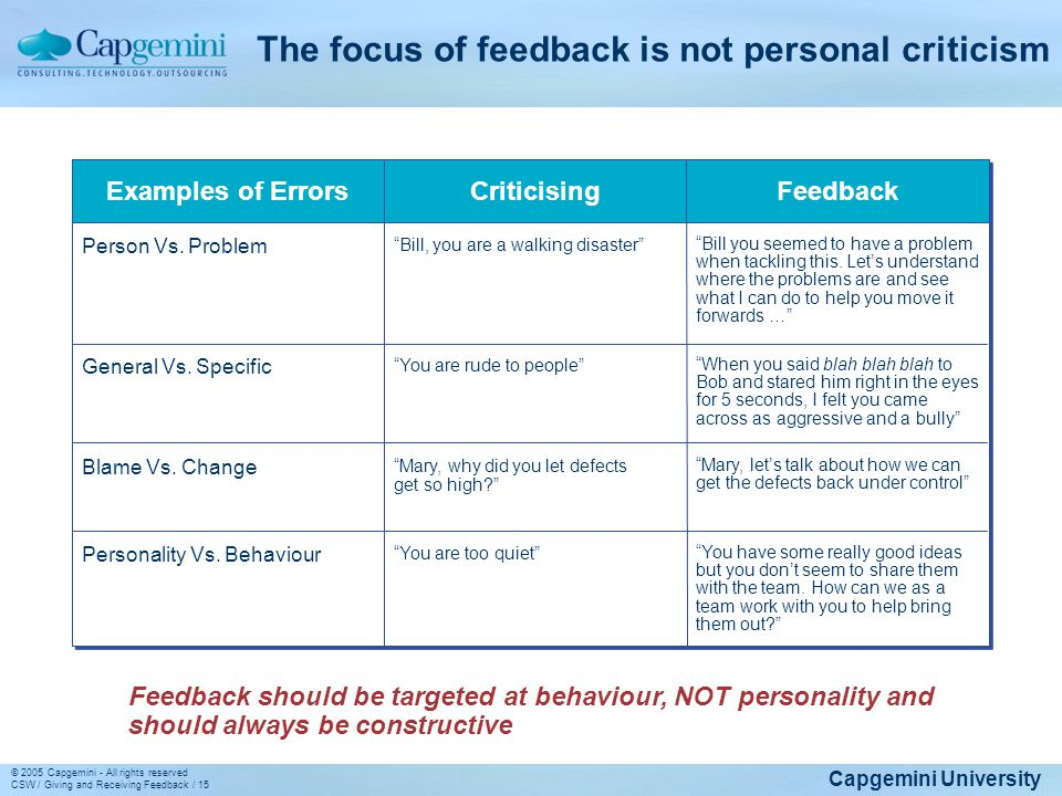 The focus of feedback is not personal criticism