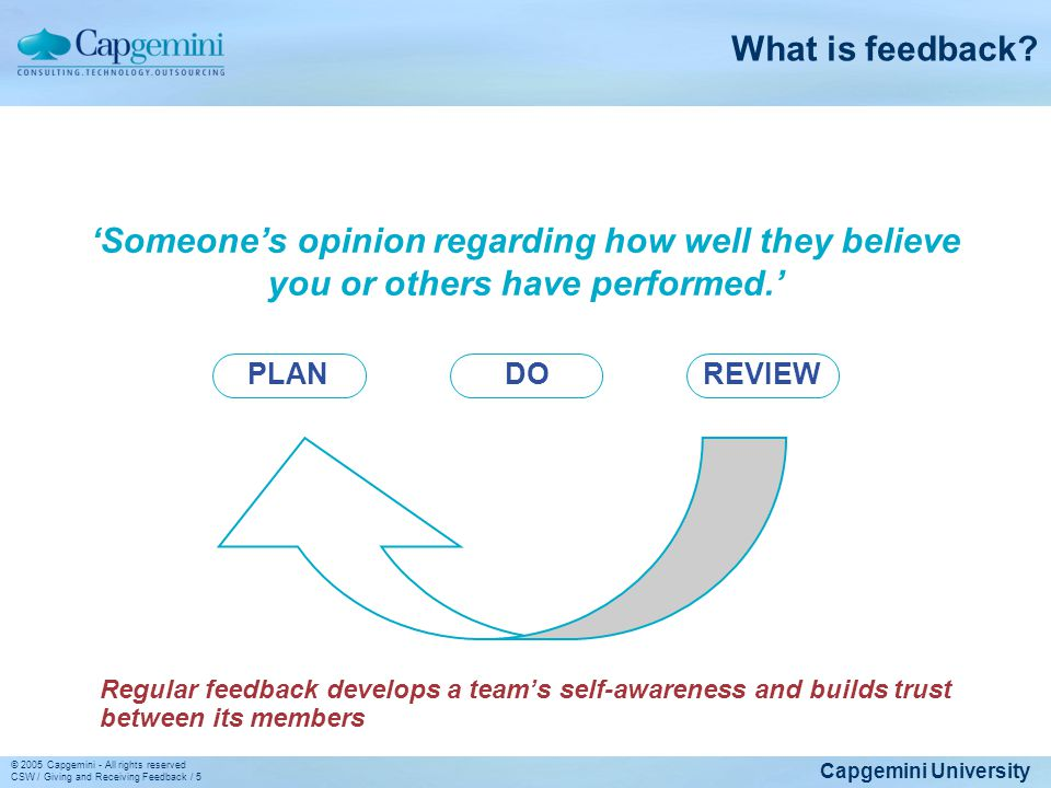 What is feedback 'Someone's opinion regarding how well they believe you or others have performed.'