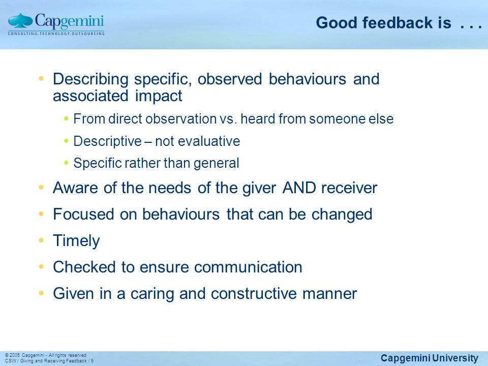 Describing specific, observed behaviours and associated impact