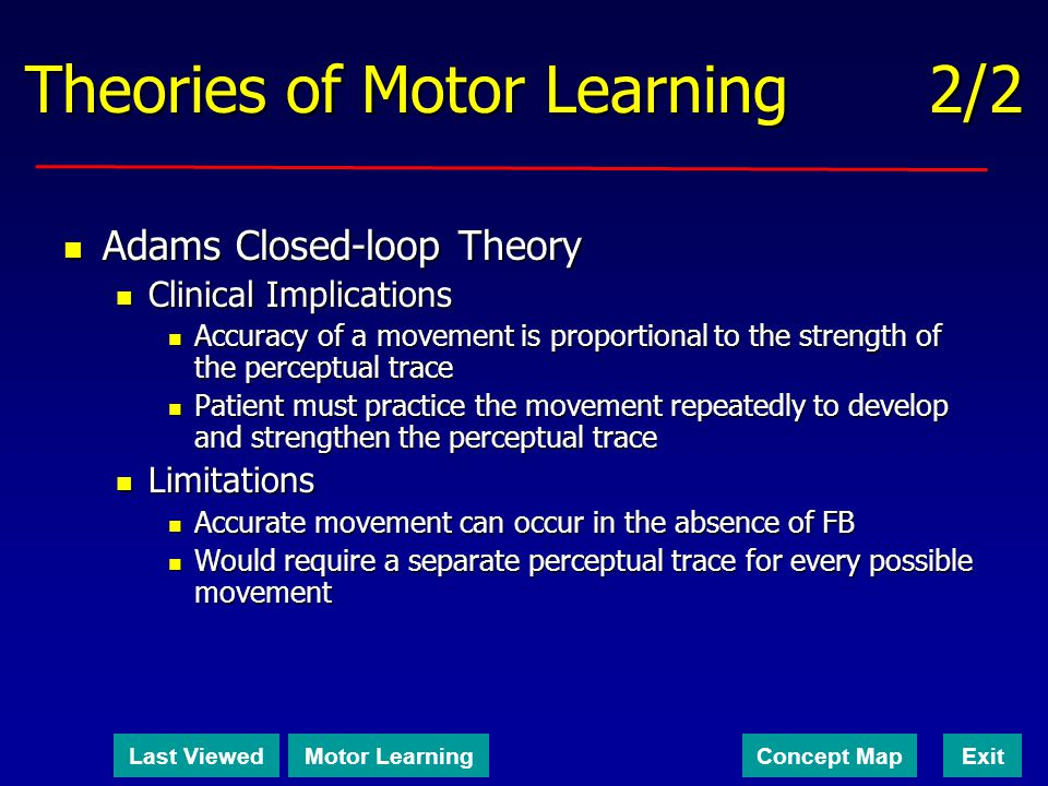 Theories of Motor Learning 2/2