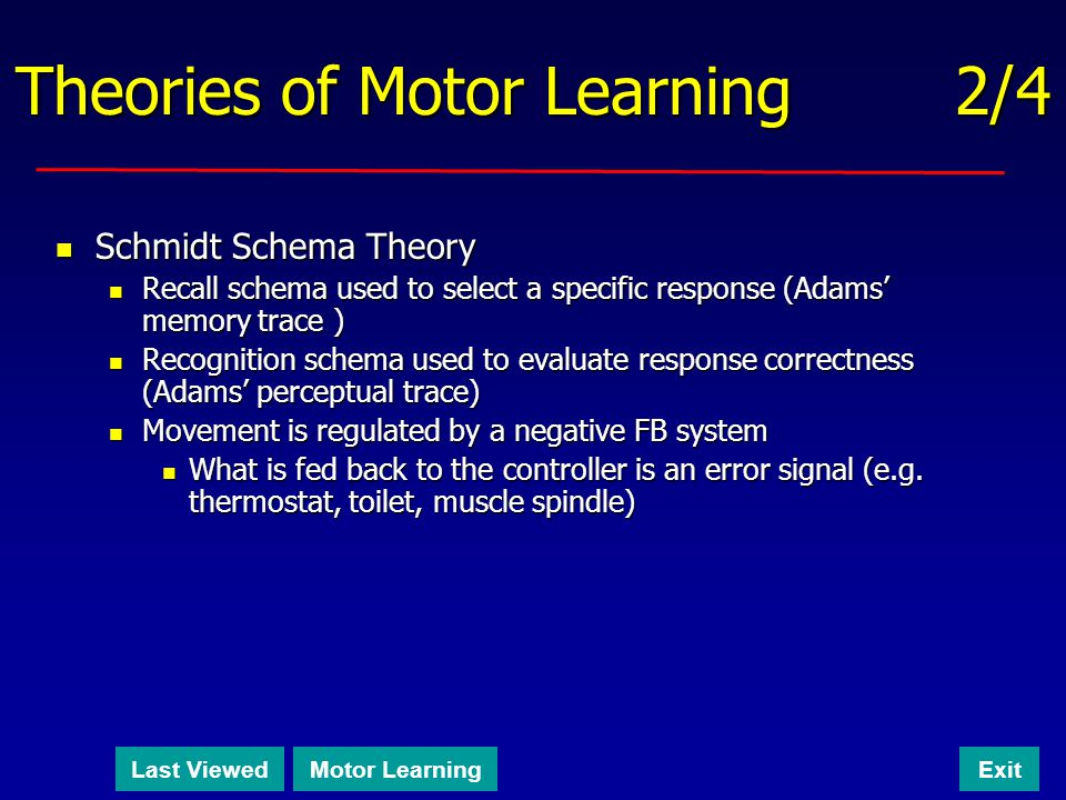 ch 5 motor learning theories Chapter 5 motor control theories concept: theories about how we control  3  motor control theory describes and explains how the nervous system produces .