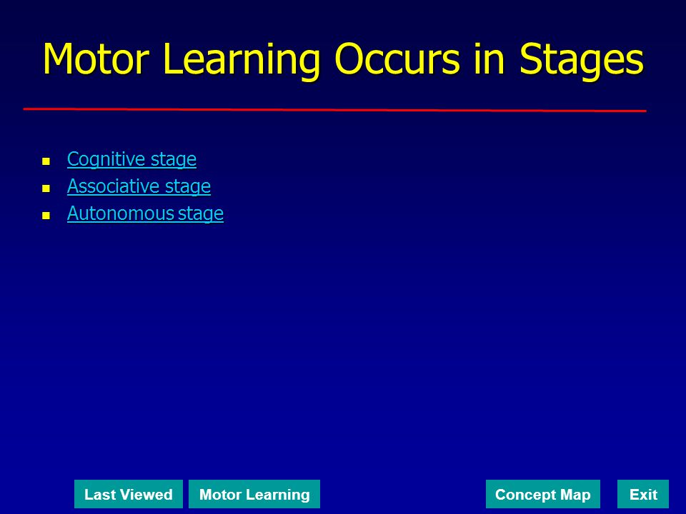 Motor Learning Occurs in Stages