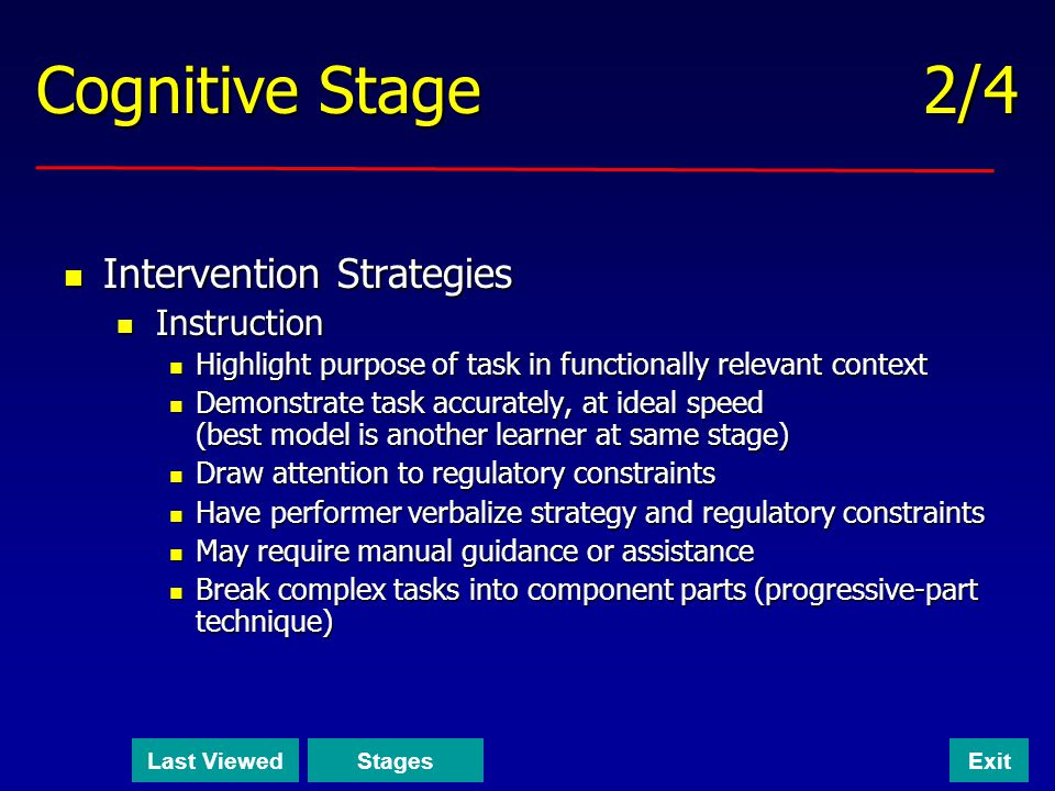 Cognitive Stage 2/4 Intervention Strategies Instruction