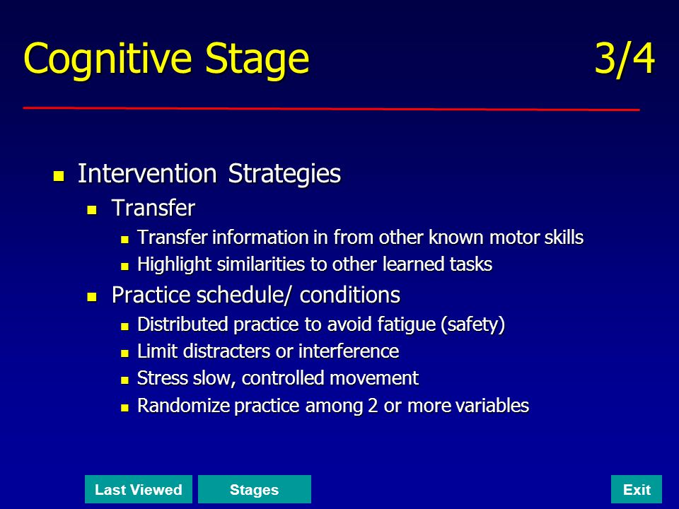 Cognitive Stage 3/4 Intervention Strategies Transfer