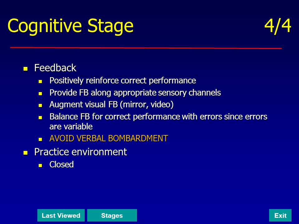 Cognitive Stage 4/4 Feedback Practice environment