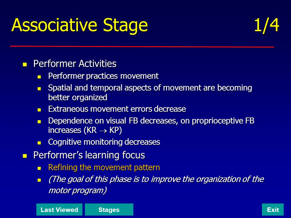 Associative Stage 1/4 Performer Activities Performer's learning focus
