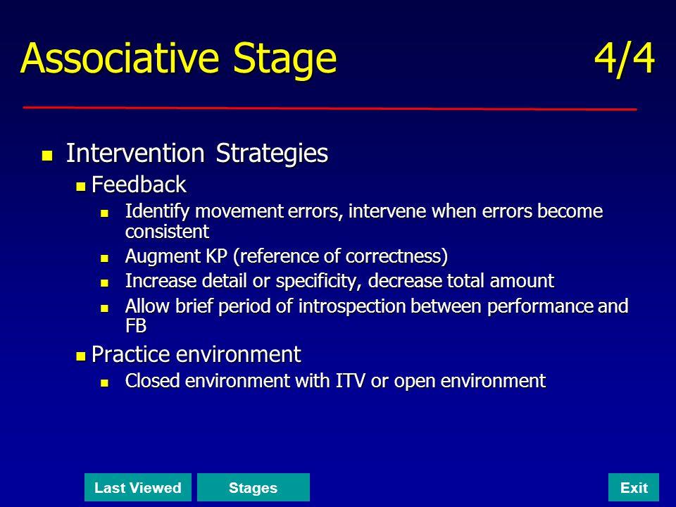 Associative Stage 4/4 Intervention Strategies Feedback