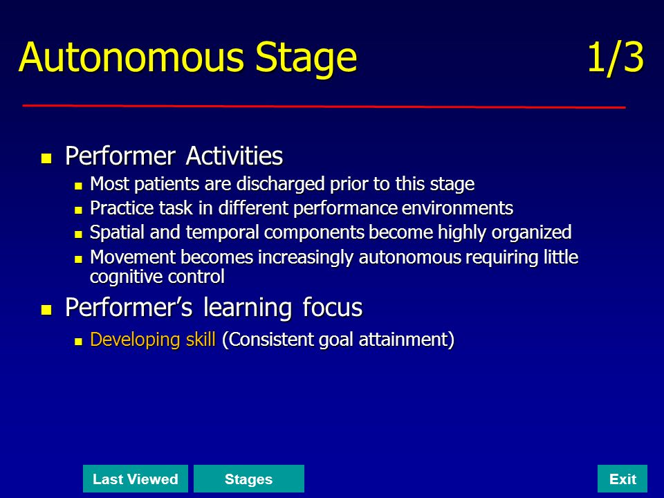 Autonomous Stage 1/3 Performer Activities Performer's learning focus