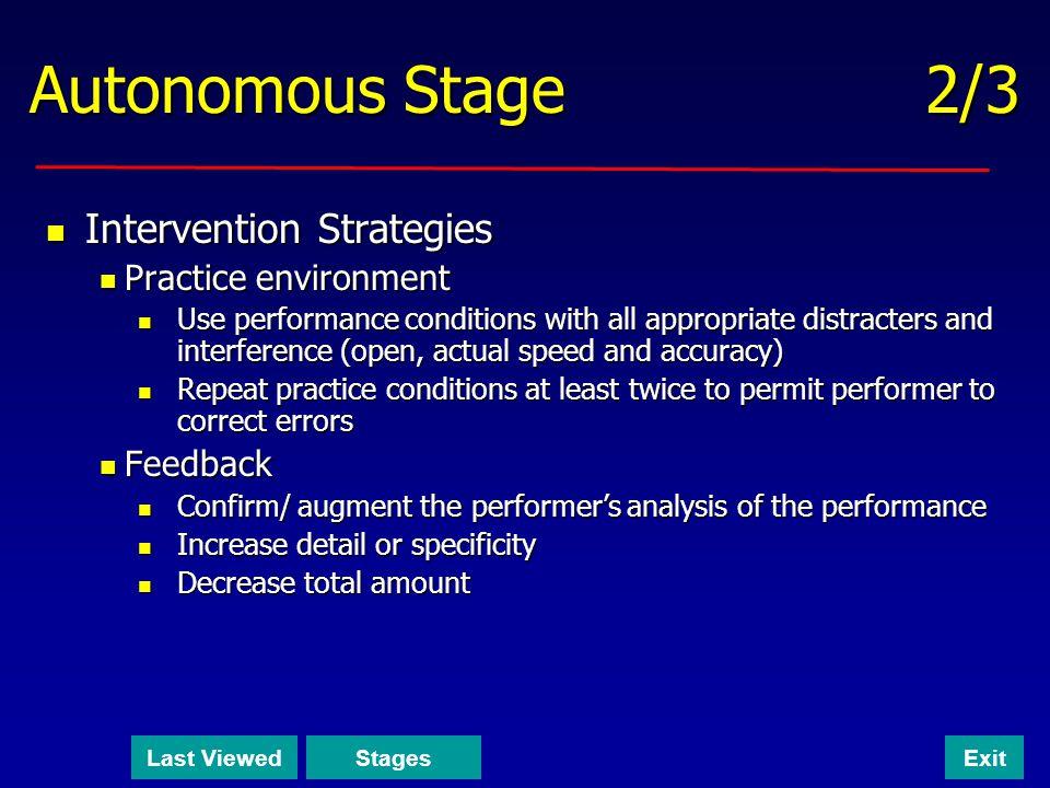 Autonomous Stage 2/3 Intervention Strategies Practice environment