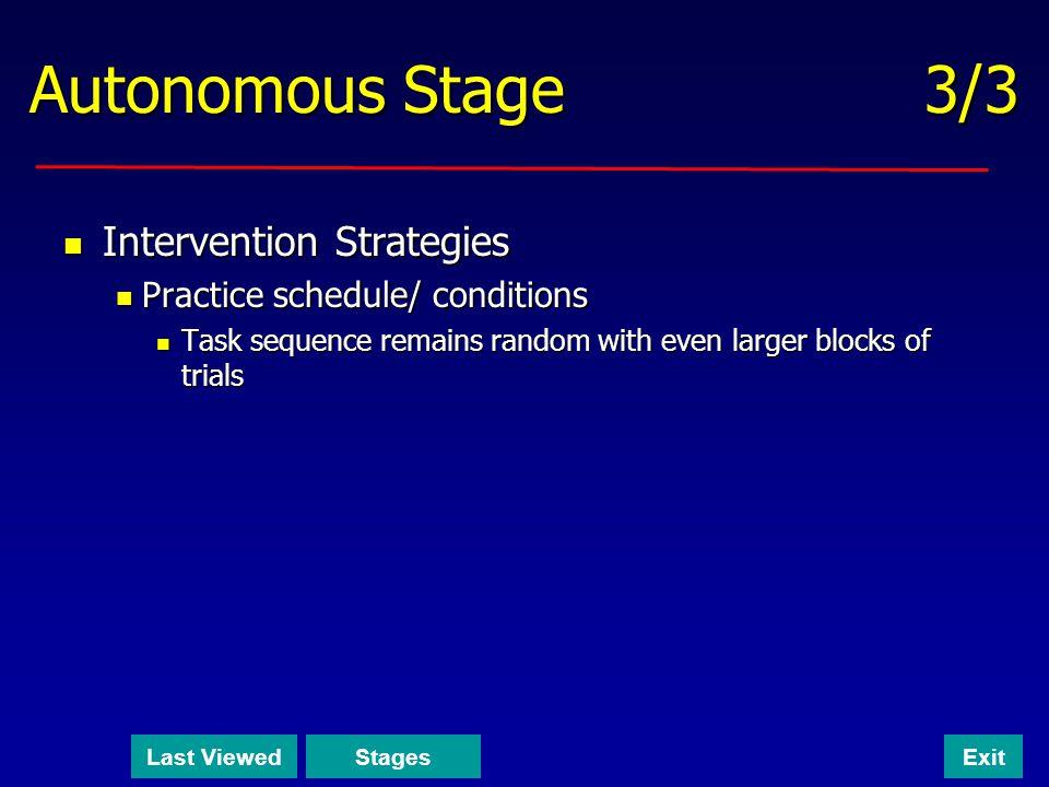 Autonomous Stage 3/3 Intervention Strategies