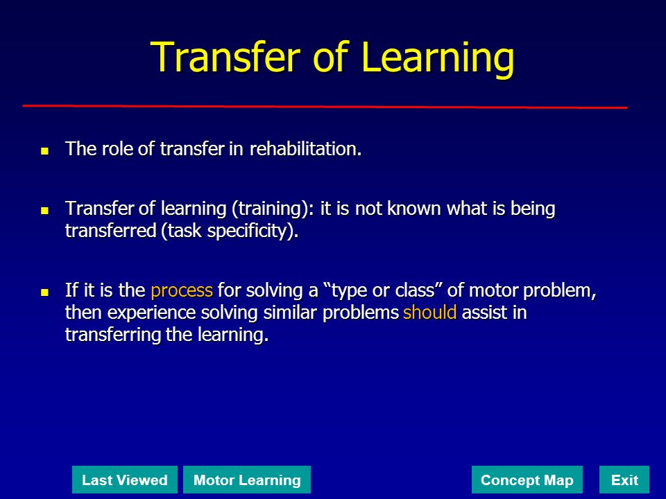 Transfer of Learning The role of transfer in rehabilitation.