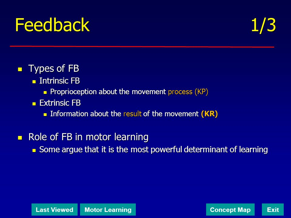 Feedback 1/3 Types of FB Role of FB in motor learning Intrinsic FB
