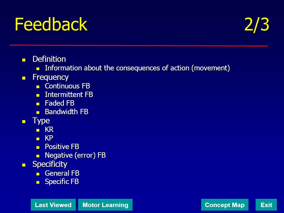 Feedback 2/3 Definition Frequency Type Specificity