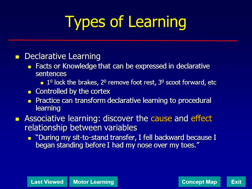 Types of Learning Declarative Learning