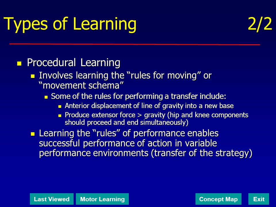 Types of Learning 2/2 Procedural Learning