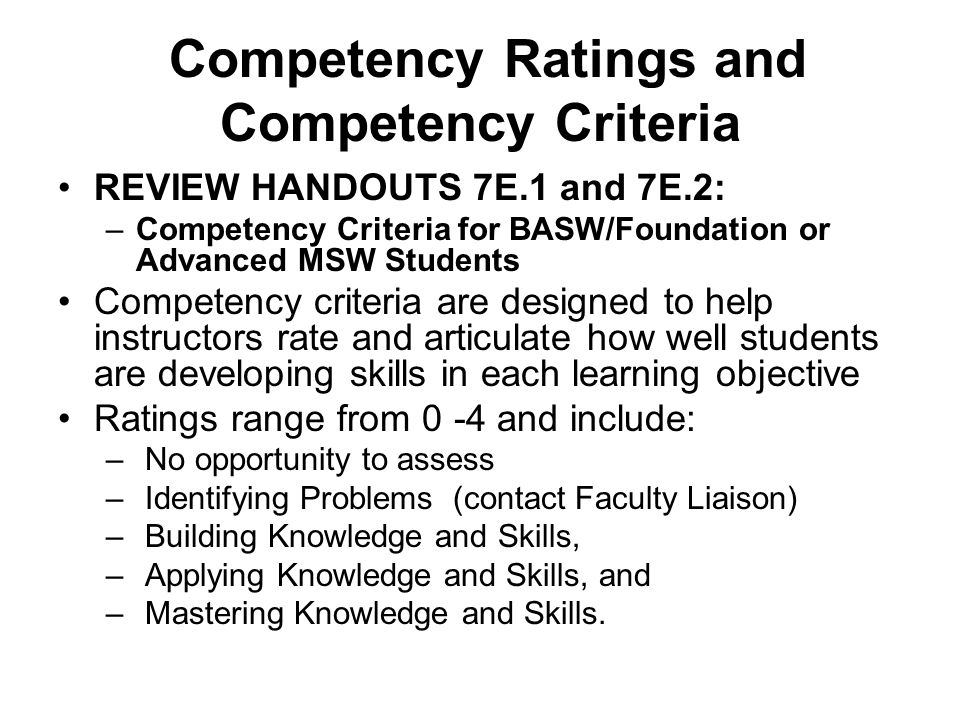 Competency Ratings and Competency Criteria