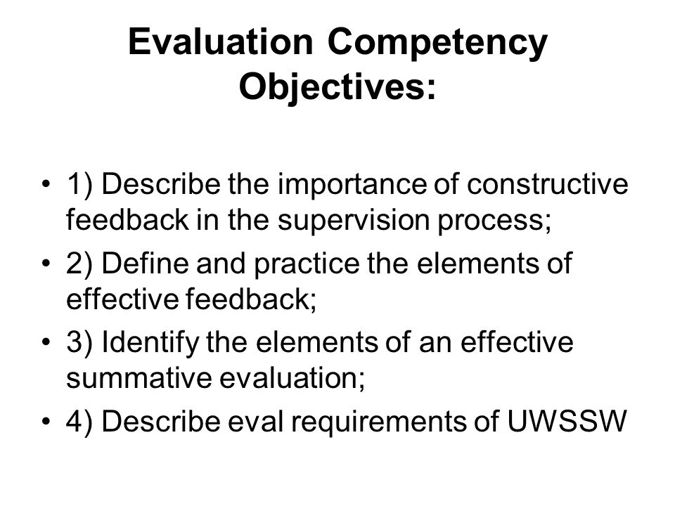Evaluation Competency Objectives: