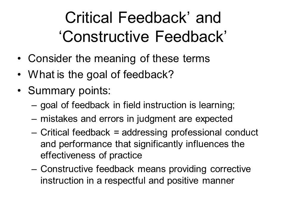 Critical Feedback' and 'Constructive Feedback'