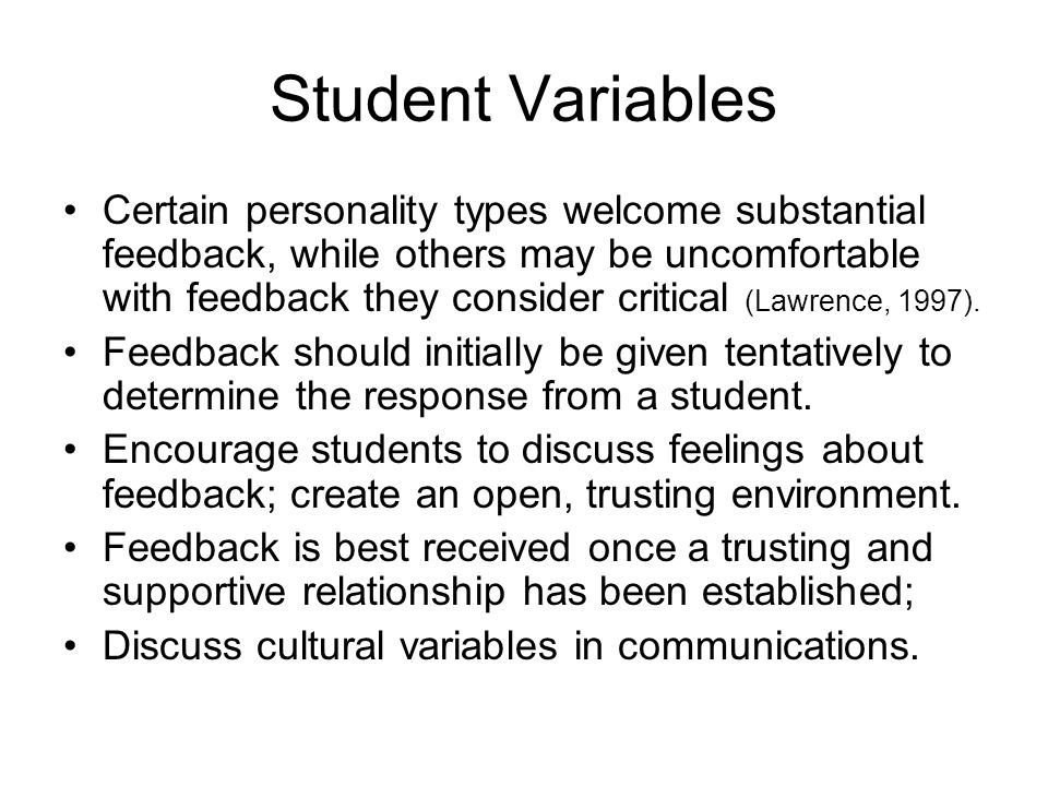 Student Variables