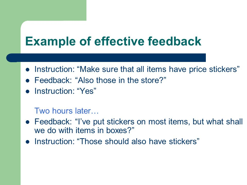 Example of effective feedback