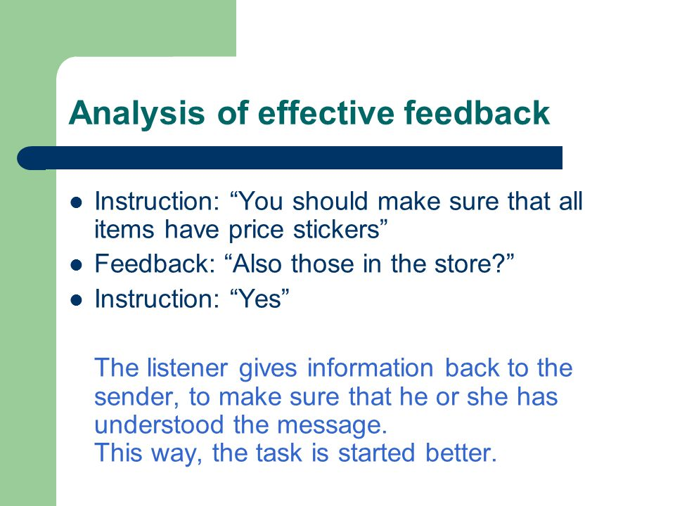Analysis of effective feedback