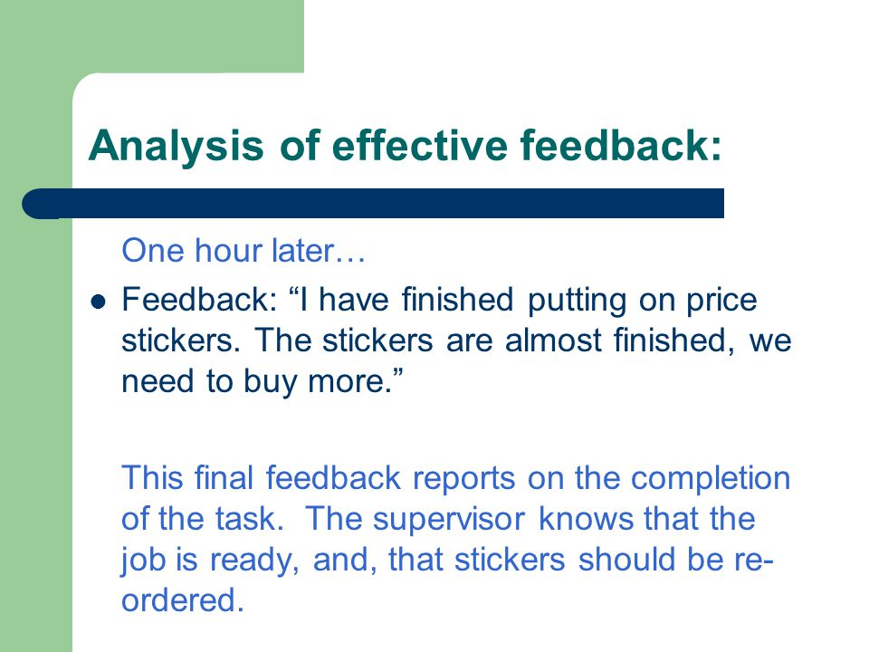 Analysis of effective feedback: