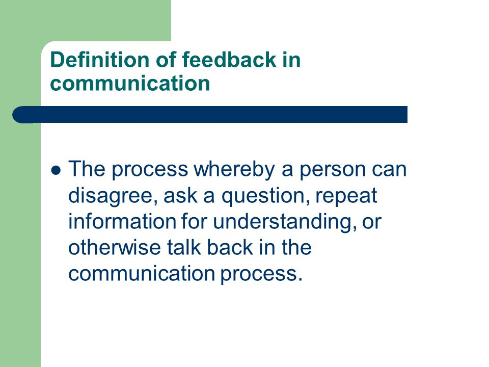Definition of feedback in communication