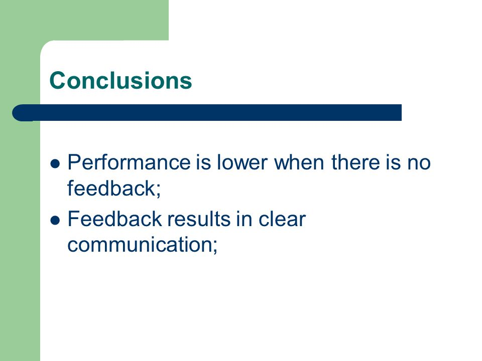 Conclusions Performance is lower when there is no feedback;