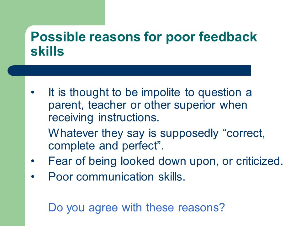 Possible reasons for poor feedback skills