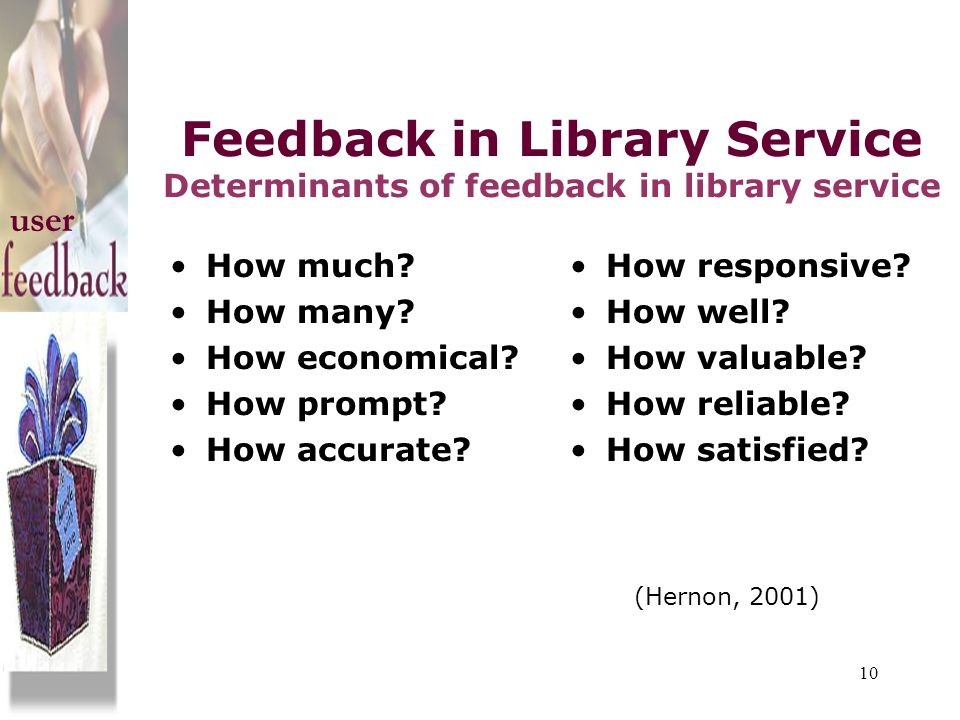 Feedback in Library Service Determinants of feedback in library service