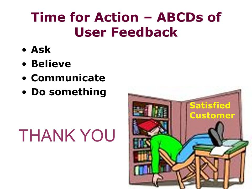 Time for Action – ABCDs of User Feedback