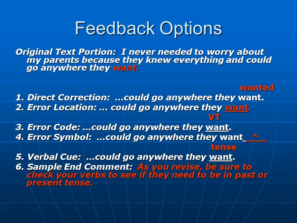 Feedback Options Original Text Portion: I never needed to worry about my parents because they knew everything and could go anywhere they want.