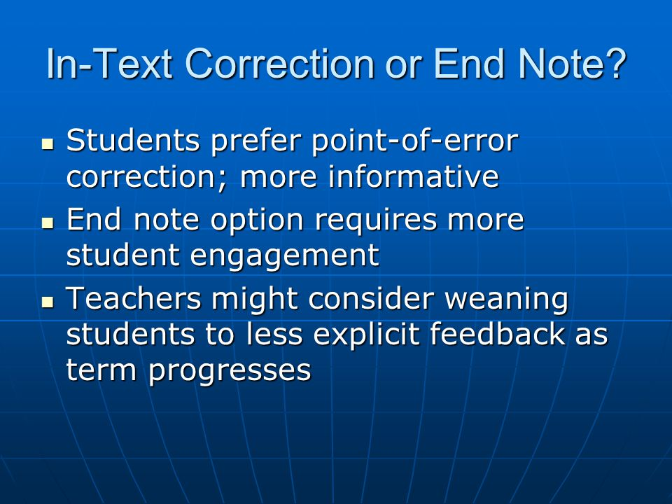 In-Text Correction or End Note