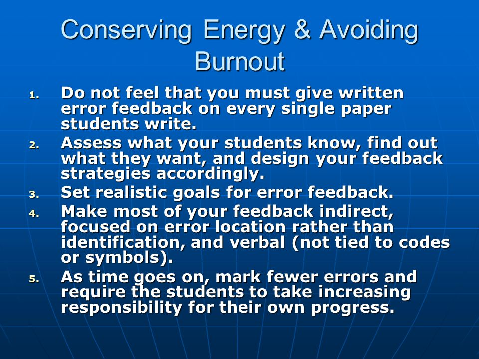 Conserving Energy & Avoiding Burnout