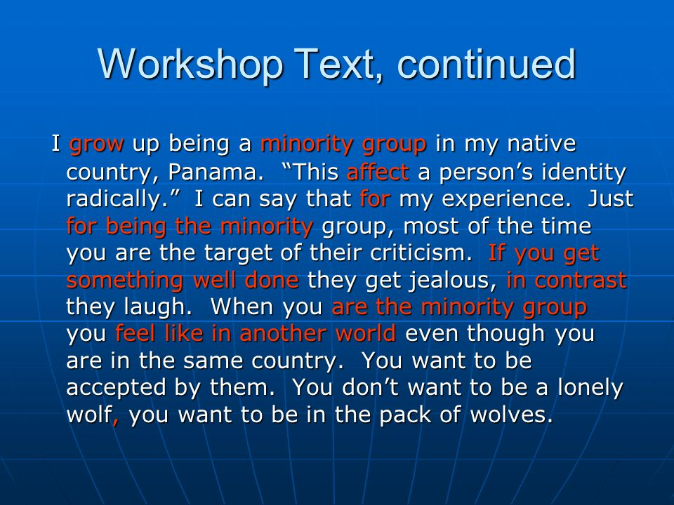 Workshop Text, continued
