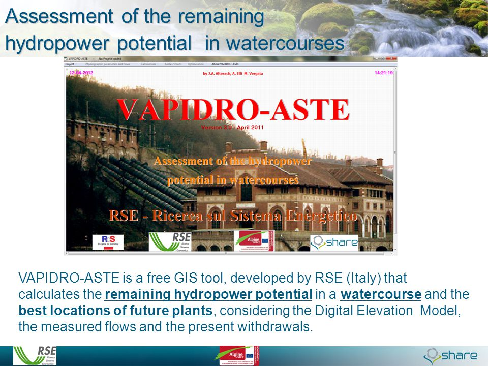 Assessment of the remaining hydropower potential in watercourses