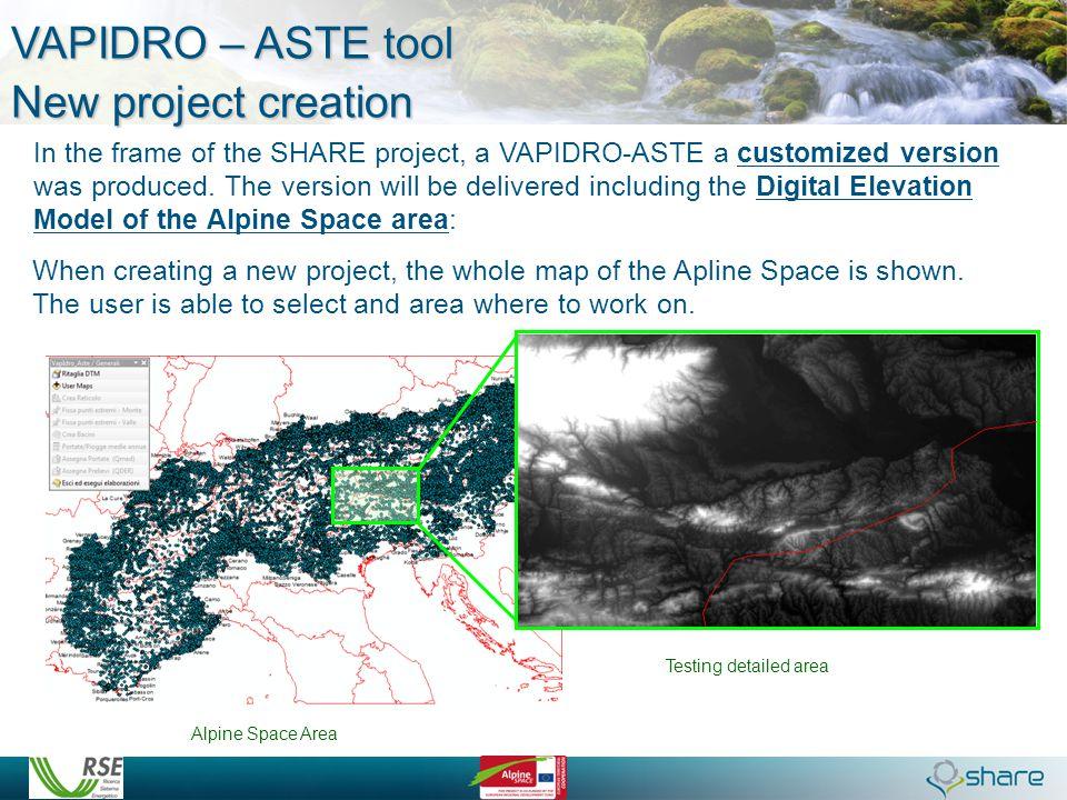 VAPIDRO – ASTE tool New project creation
