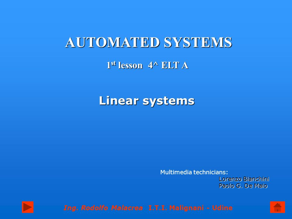 AUTOMATED SYSTEMS Linear systems 1st lesson 4^ ELT A