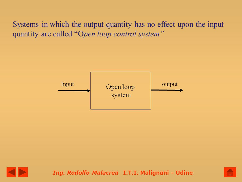 Systems in which the output quantity has no effect upon the input quantity are called Open loop control system