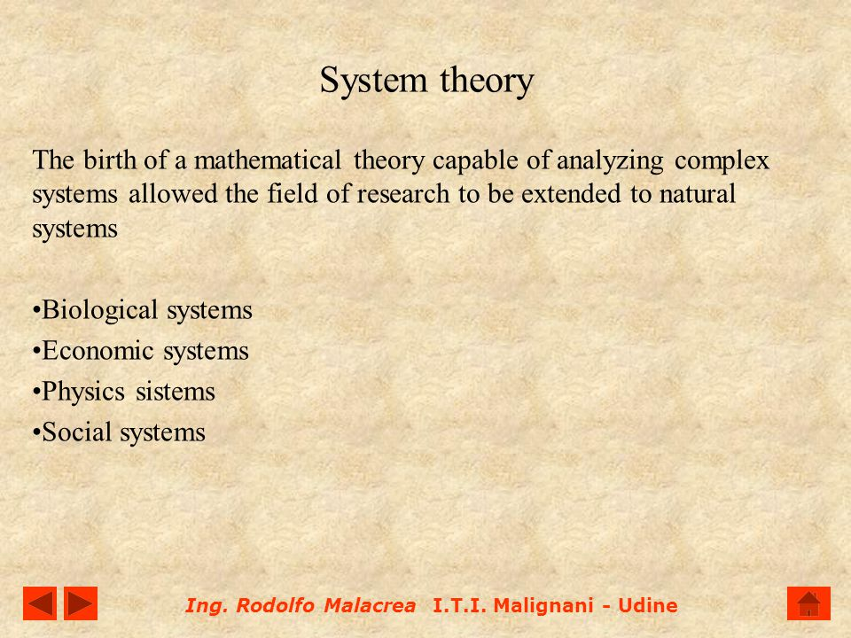 System theory The birth of a mathematical theory capable of analyzing complex systems allowed the field of research to be extended to natural systems.
