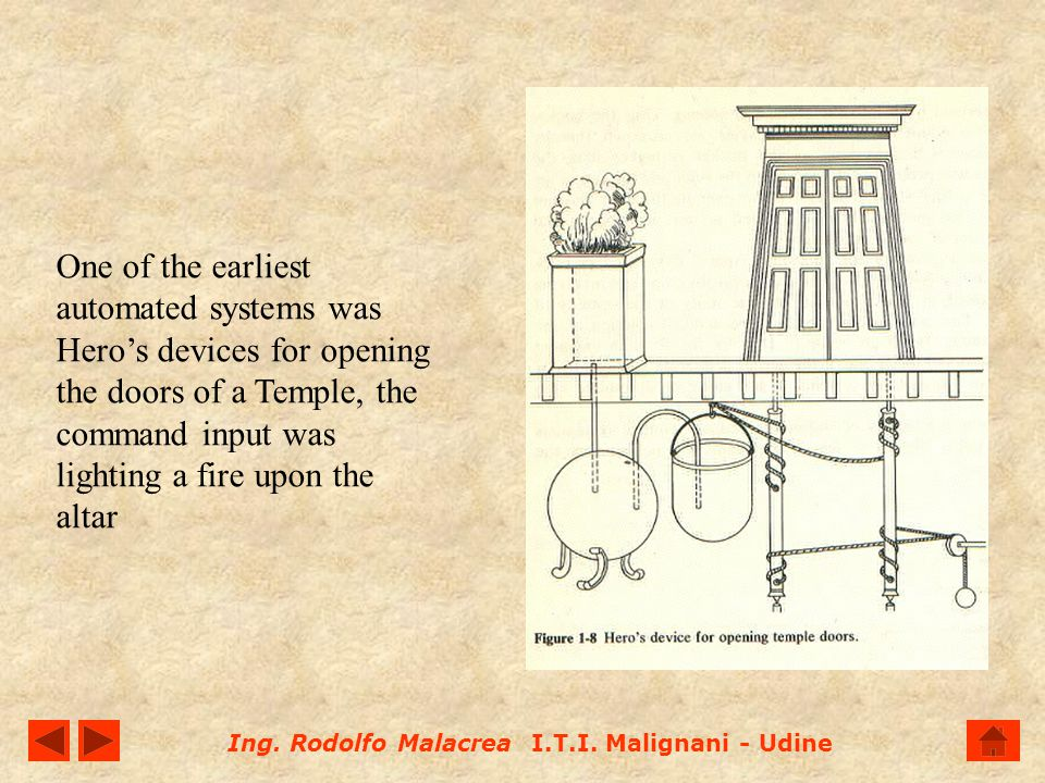 One of the earliest automated systems was Hero's devices for opening the doors of a Temple, the command input was lighting a fire upon the altar