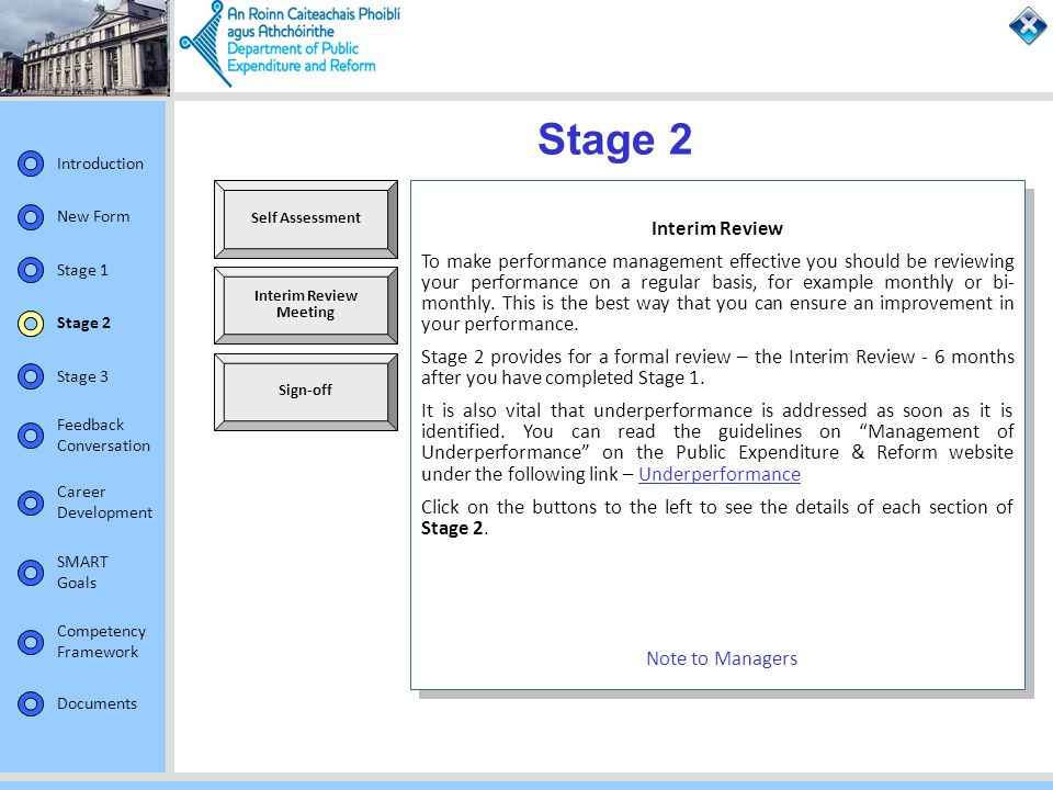 Stage 2 Self Assessment. Interim Review.