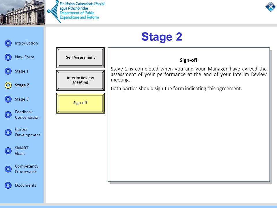 Stage 2 Self Assessment. Sign-off.