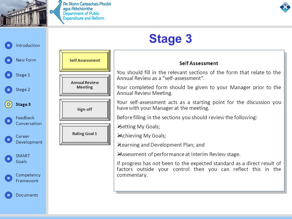 Stage 3 Self Assessment. Self Assessment.