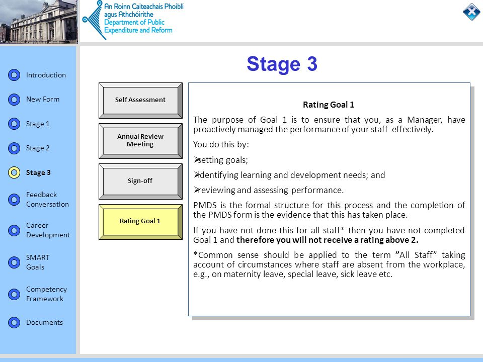 Stage 3 Self Assessment. Rating Goal 1.