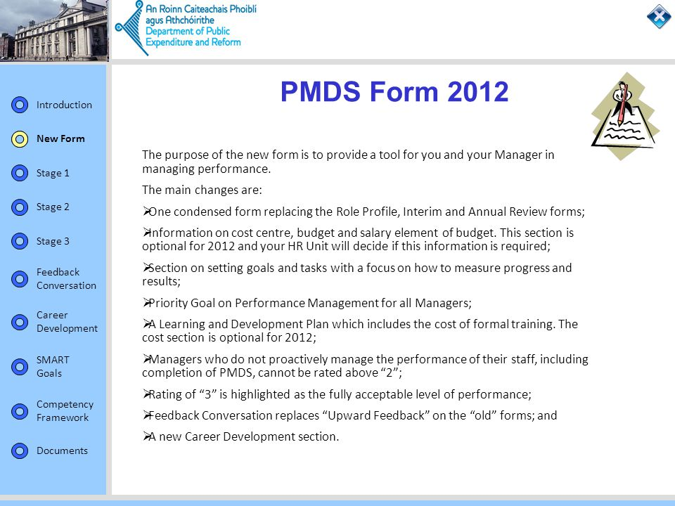 PMDS Form 2012 New Form. The purpose of the new form is to provide a tool for you and your Manager in managing performance.