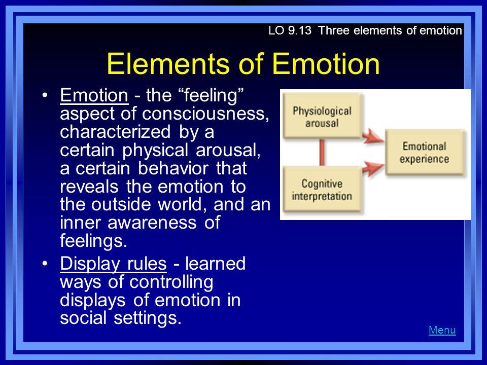 LO 9.13 Three elements of emotion
