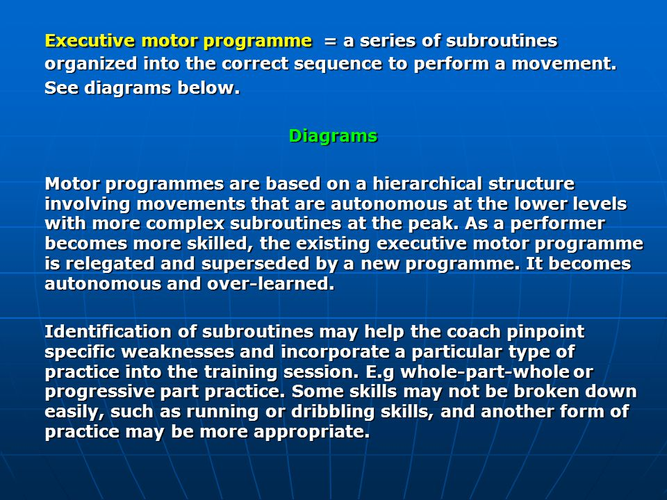 Executive motor programme = a series of subroutines organized into the correct sequence to perform a movement.