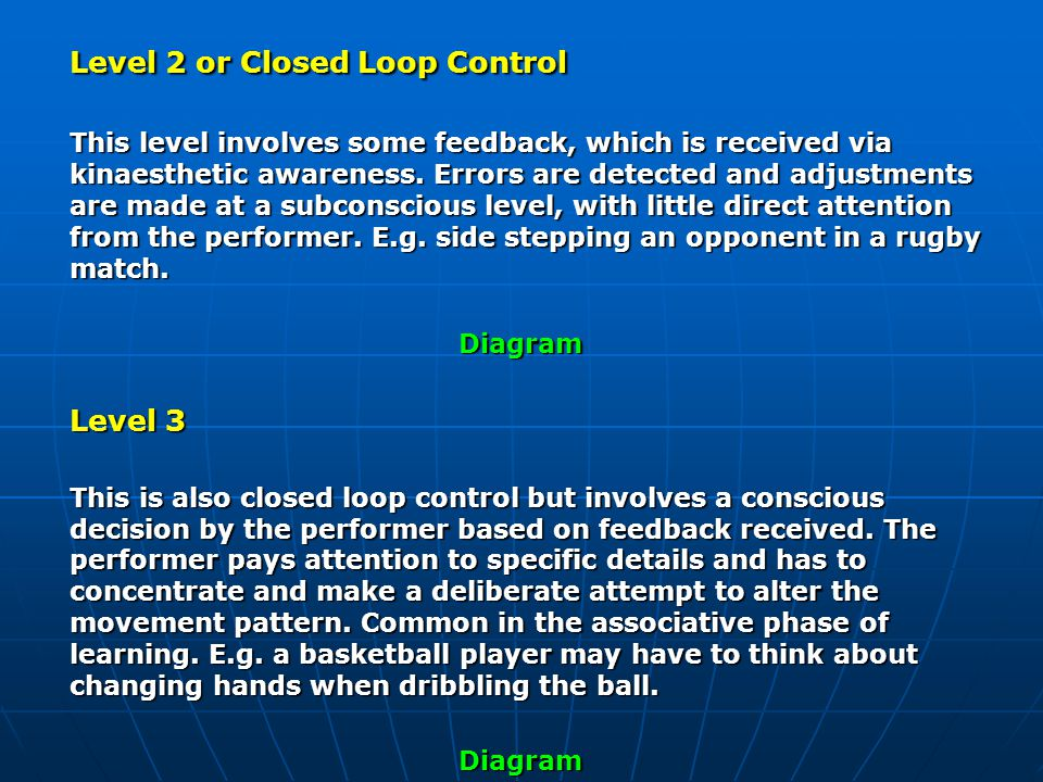 Level 2 or Closed Loop Control